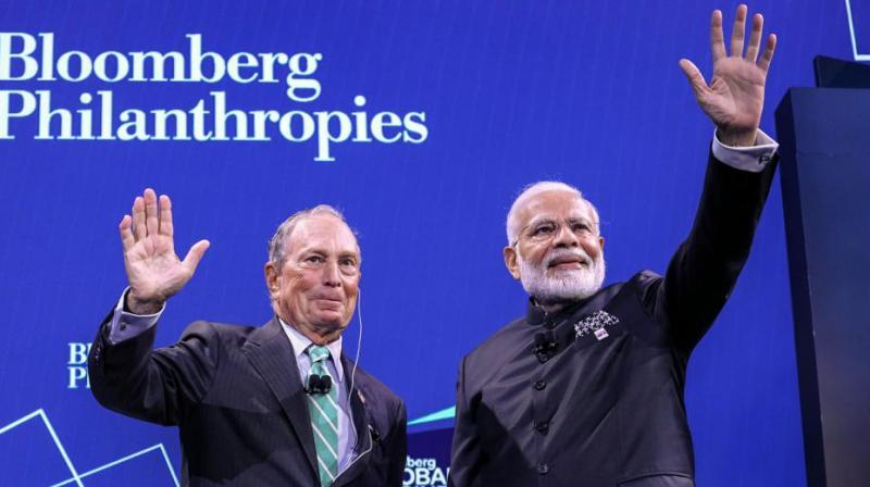 Prime Minister Narendra Modi with CEO of Bloomberg Michael Bloomberg (L) at Global Business Forum in New York, Sept. 25, 2019. (PTI)