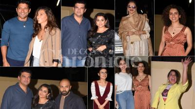 Nawazuddin Siddiqui and Sanya Malhotra starrer Photograph is all set to release on March 15, 2019. Hence, the makers had arranged a special screening for Bollywood celebs where Vidya Balan, Radhika Madan, Farhan Akhtar, Shibani Dandekar and others were present. (Pictures: Viral Bhayani)