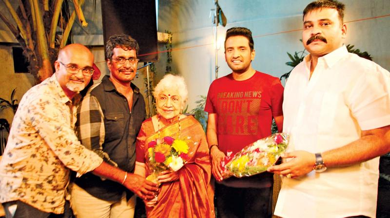 Sowcar Janaki with Santhanam and director Kannan