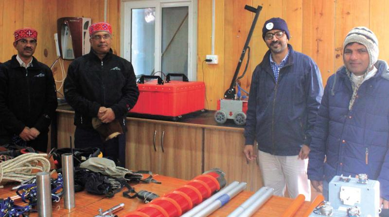 The laboratory facility at Himansh (from left to right):  Dr. M. Ravichandran, director, NCAOR; Dr M. Rajeevan, secretary to ministry of Earth Sciences, Dr Thamban Meloth, project director at NCAOR and Dr P. Sharma, leader of the Himansh station.