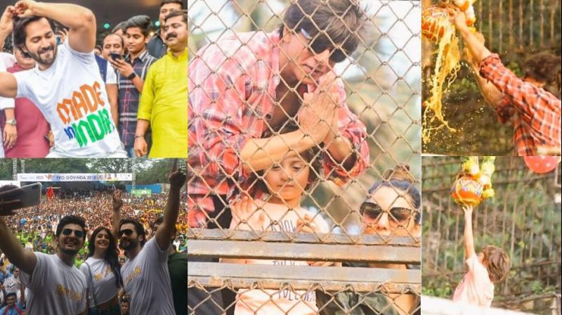 B-Town celebrities celebrated the occasion of Janmashtami in Mumbai on Monday. (Photos: Viral Bhayani/ Twitter/ Instagram)