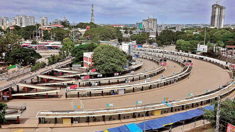 File photo of Majestic bus stand during a bandh