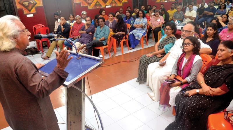 Adoor Gopalakrishnan inaugurates the interaction programme by Women in Cinema collective in Thiruvananthapuram on Monday.  (Photo: Peethambaran Payyeri)