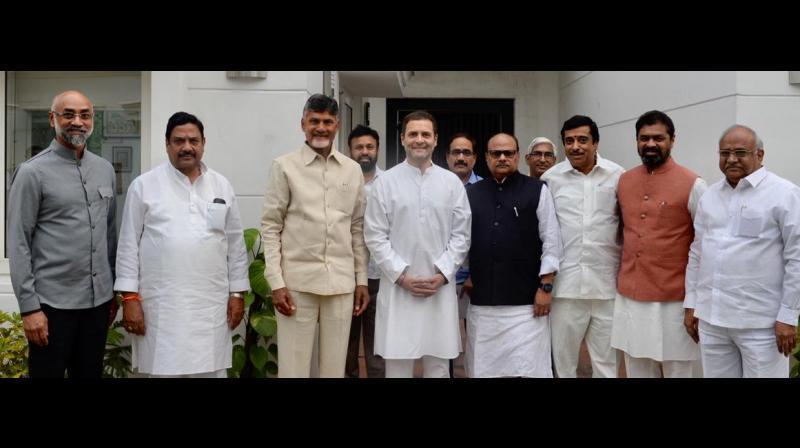 Andhra Pradesh Chief Minister N Chandrababu Naidu, TDP MPs Jayadev Galla, CM Ramesh and others meet Congress President Rahul Gandhi. (Photo: ANI | Twitter)
