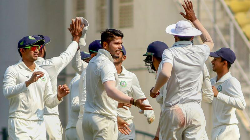 Umesh Yadav did intimidate Saurashtra with his small yet brute intermittent spells, during which he also hit overnight batsman Prerak Mankad on his shoulder. (Photo: PTI)