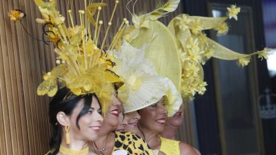 Racegoers at the Royal Ascot displayed their flamboyant fascinators on Day 2 of the races. (Photo: AP/Alastair Grant)