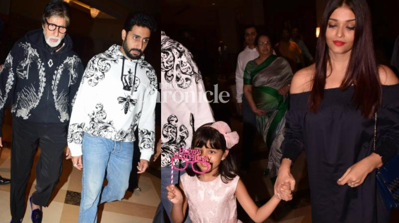 Abhishek Bachchan and Aishwarya Rai Bachchan's daughter Aaradhya celebrated her sixth birthday on Thursday, bringing the family together on the occasion. (Photo: Viral Bhayani/ Twitter)