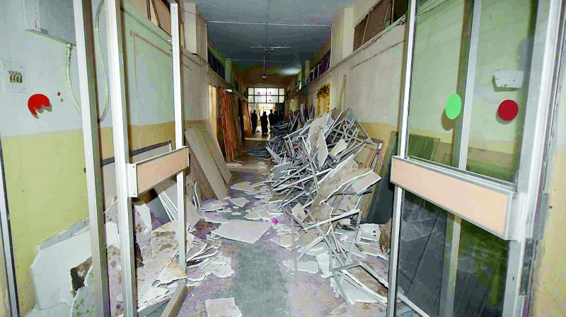 One of the corridors at BRKR Bhavan, the new seat of the administration, where work was still going on, on Tuesday. (Photo: R. Pavan)