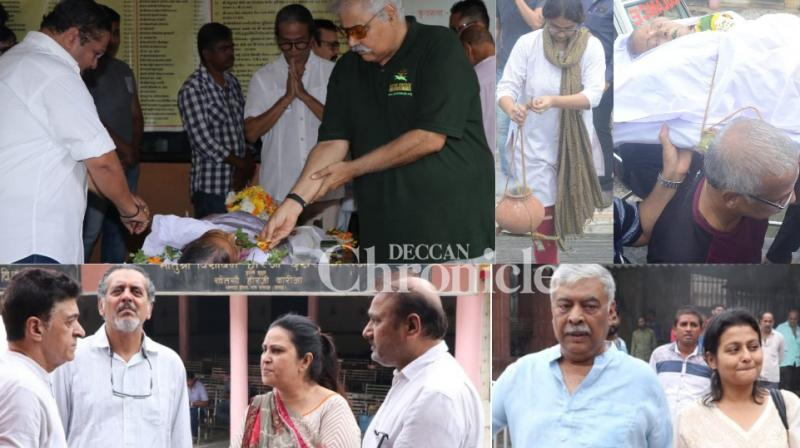 Veteran actress Ritu Bhaduri was cremated in Mumbai on Tuesday after her death earlier in the day. (Photos: Viral Bhayani)