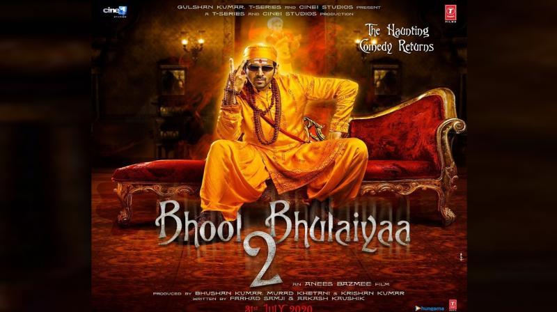 Kartik Aaryan featuring in Bhool Bhulaiyaa 2 poster. (Photo: Instagram)