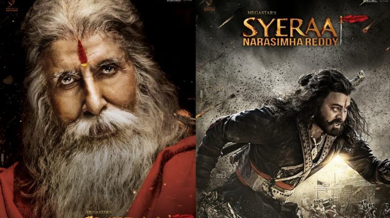 Amitabh Bachchan and Chiranjeevi in the posters of Sye Raa Narasimha Reddy.