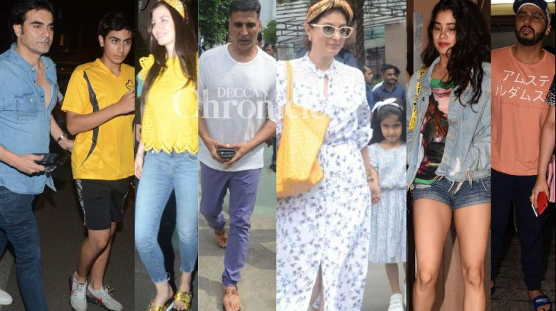 Bollywood stars stepped out, most of them with family and loved ones, in Mumbai on Sunday. (Photos: Viral Bhayani)
