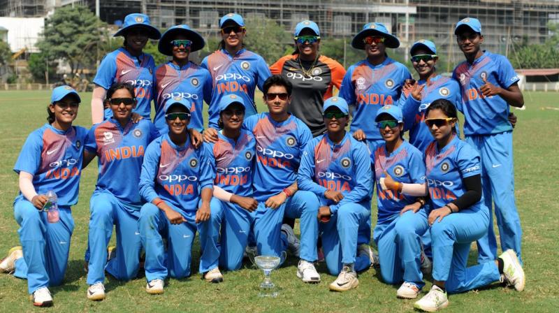After a near perfect beginning, the Indian women's team will be overwhelming favourites against arch-rivals Pakistan in its second group league encounter of the ICC World T20 at Guyana on Sunday. (Photo: Twitter / BCCI Women)