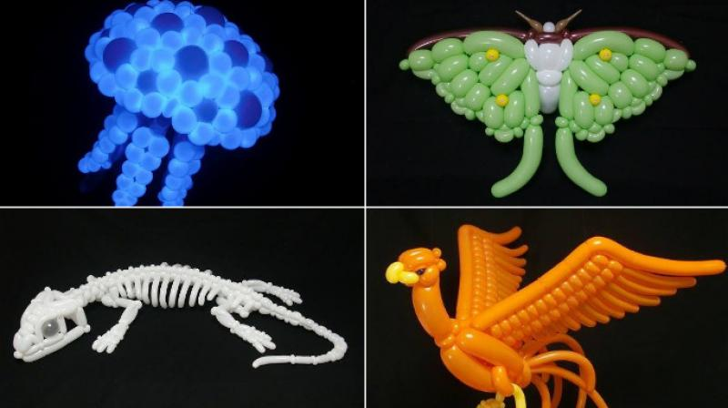 Japanese artist Masayoshi Matsumoto uses balloons to make creative art with birds and animals using different-coloured balloons while adding intricate detail to them. (Photo: Facebook/Masayoshi Matsumoto)