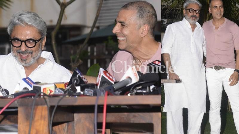 Akshay Kumar and Sanjay Leela Bhansali held a press conference in Mumbai on Friday to announce that their films won't clash at the box office. (Photo: Viral Bhayani)