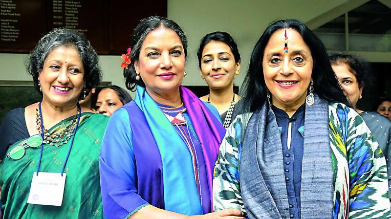 Actress Shabana Azmi flanked by writer Amita Desai (left) and singer Ila Arun at the Hyderabad Literary Festival on Sunday. (Photo:  Deepak Deshpande)