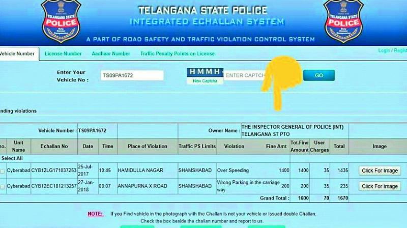 Telangana: Fine for the vehicle yet to be paid