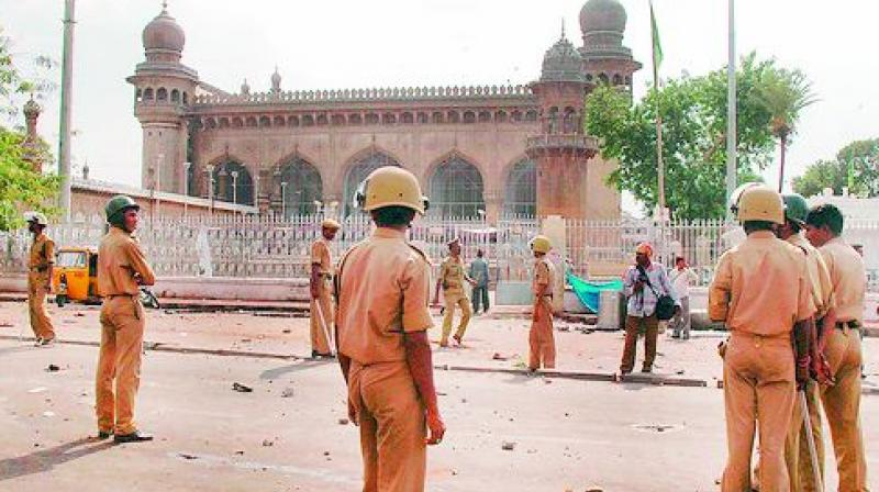 A file photo of the security personnel near Mecca Masjid after the blast.
