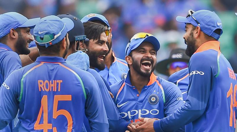 Ravindra Jadeja took four wickets to help India bowl the visitors out for 104. (Photo: PTI)