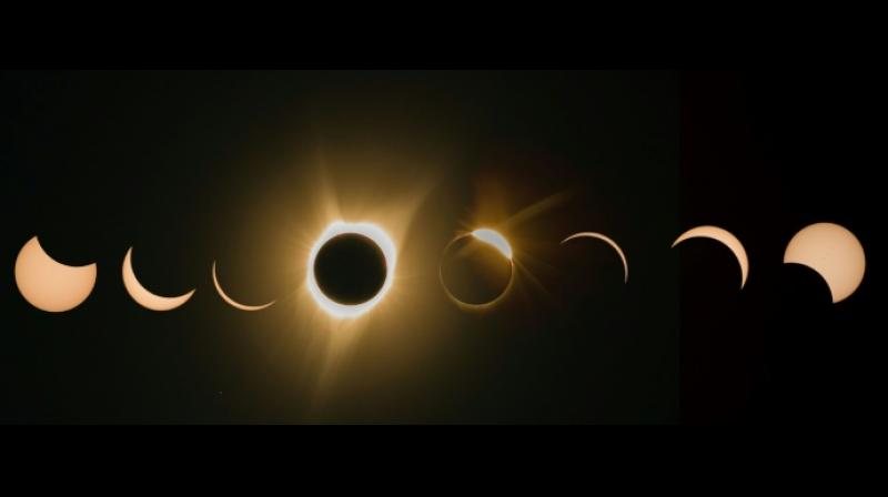Phases of Monday's total solar eclipse as seen in Madras, Oregon, among the first places to experience the celestial phenomenon. (Photo: AFP)