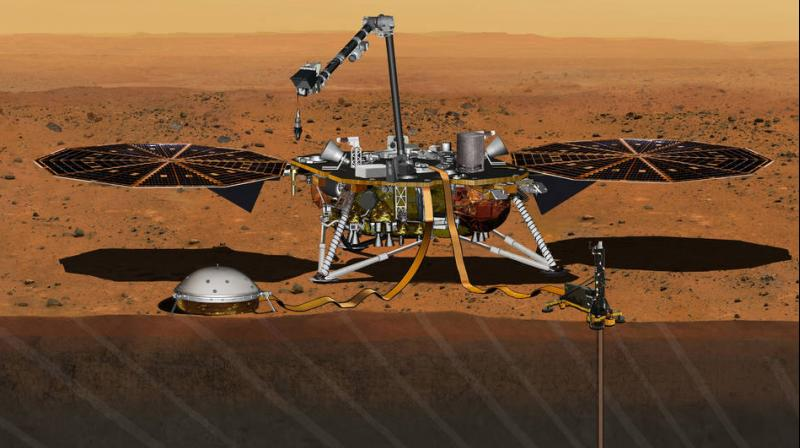 This artist's concept from August 2015 depicts NASA's InSight Mars lander fully deployed for studying the deep interior of Mars. The mission will launch during the period March 4 to March 30, 2016, and land on Mars Sept. 28, 2016. (Photo: NASA)