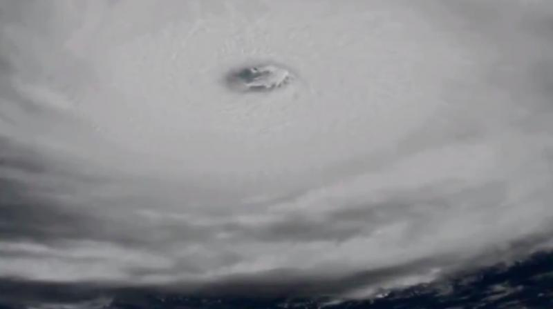 Screegarb of NASA's footage showing 'extremely dangerous' Hurricane Irma from space.