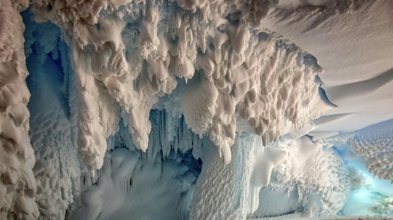 Steam from active volcanoes has hollowed out extensive cave systems under the Antarctic ice that could be home to unique ecosystems, scientists say (Photo: AFP)