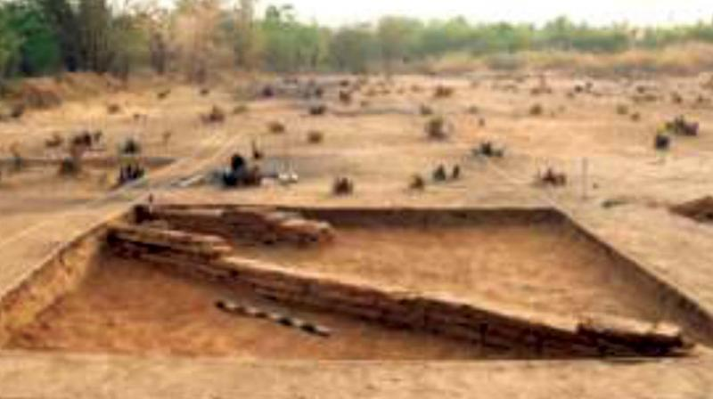 A view of the wall structure unearthed during excavation. It depicts mastery in engineering.