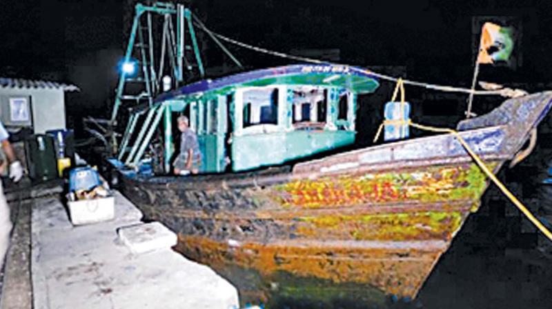 Mechanised boat siezed by the Sri Lankan Navy. (Photo: DC)