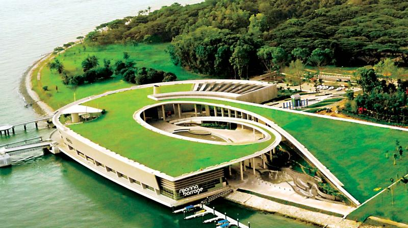 MODEL TO EMULATE? Marina Barrage Singapore provides water storage, flood control and recreation. It is a dam built at the confluence of five rivers, across the Marina Channel between Marina East and Marina South.