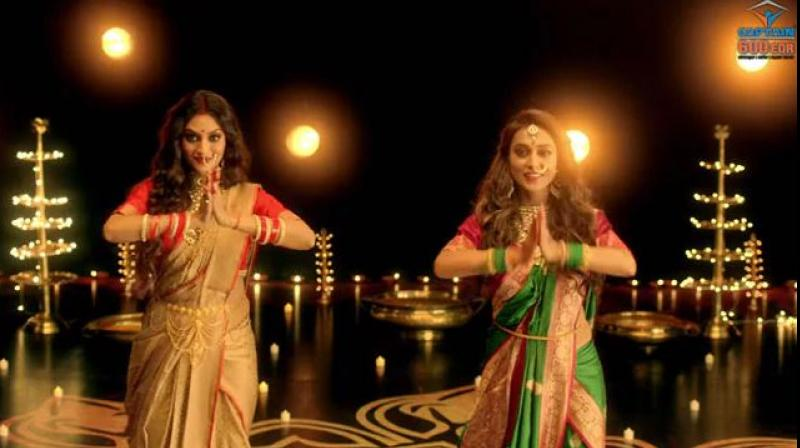 The devotional dance video shows actors-turned politicians Mimi and Nusrat tapping their feet to the song 'Ashey Maa Durga Shey'. (Photo: Screengrab)