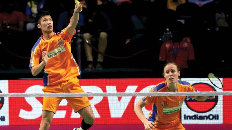 Ahmedabad Smash Masters' Law Cheuk Him and Kamilla Rytter Juhl in action against Mumbai Rockets' Lee Yong Dae and Gabriela Stoeva in their PBL match in Chennai.