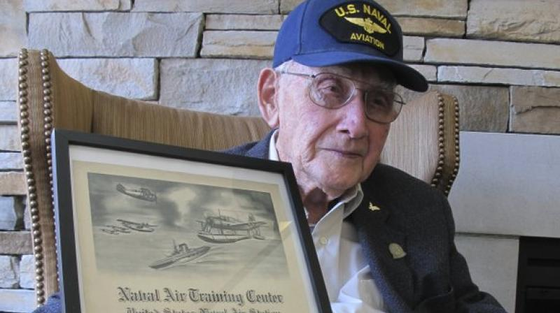 He flew seaplanes for scout observation over the Gulf of Mexico and was a flight instructor at a base in Corpus Christi, Texas (Photo: AP)