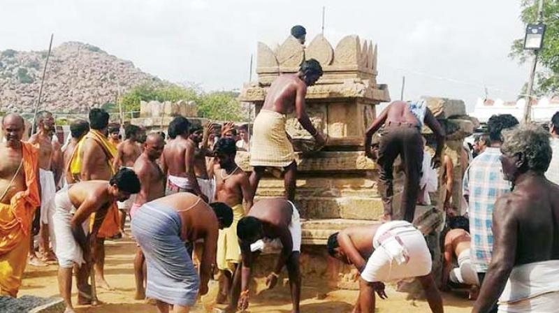 The Brindavan being reconstructed by devotees.