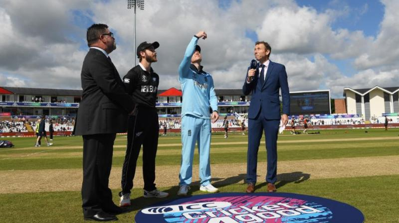 England captain Eoin Morgan opted to bat first after winning the toss in his side's crunch World Cup match against New Zealand at the Riverside on Wednesday. (Photo: cricketworld/twitter)