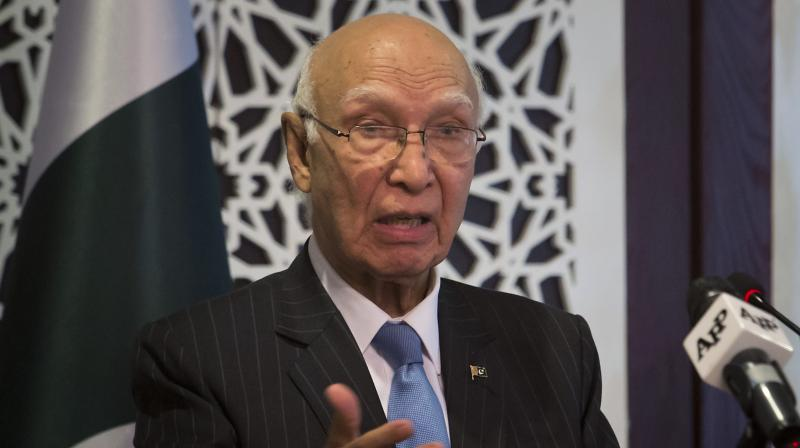 Pakistan's adviser on foreign affairs Sartaj Aziz. (Photo: AP)
