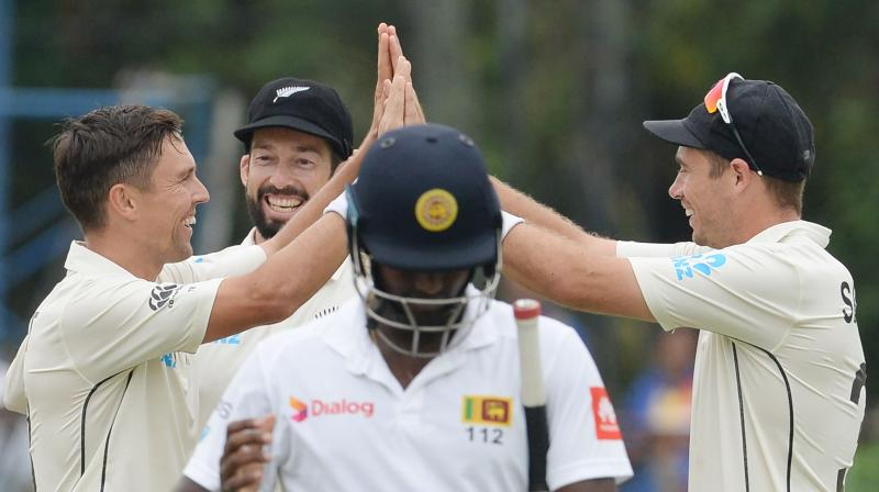 Trent Boult and Tim Southee ran through Sri Lanka's batting order to restrict Sri Lanka to 144/6. (Photo:AFP)