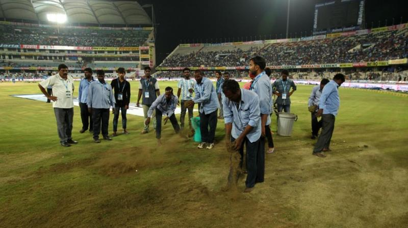 Ground staff were having a hard time on the ground preparing for the all-important game.(Photo: BCCI)