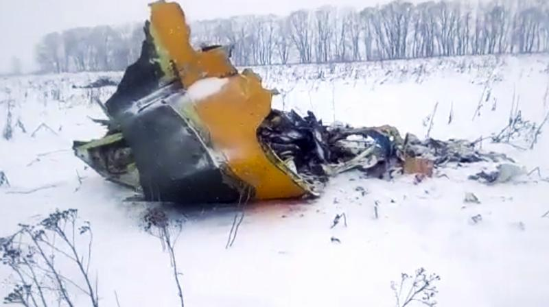 In this screen grab provided by the Life.ru, the wreckage of a AN-148 plane is seen in Stepanovskoye village, about 40 kilometers (25 miles) from the Domodedovo airport, Russia. (Photo: AP)