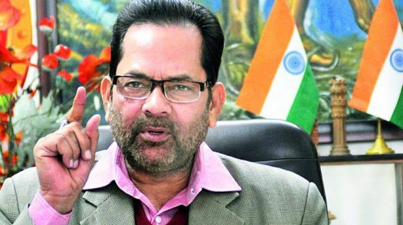 'The government is successfully moving forward towards educational and social empowerment of all weaker and backward sections of the society, which will stop their political exploitation,' said Union Minister Mukhtar Abbas Naqvi. (Photo: File)
