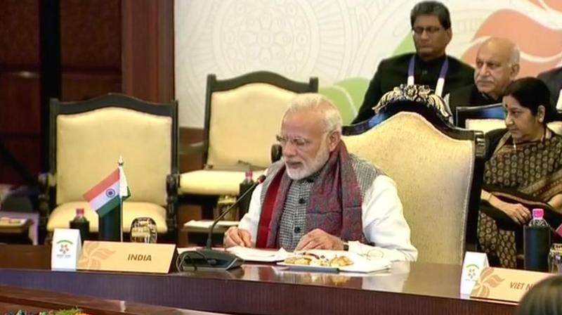 The Prime Minister said India was committed to work with the with the ASEAN nations to enhance collaboration in the maritime domain. (Photo: ANI/Twitter)