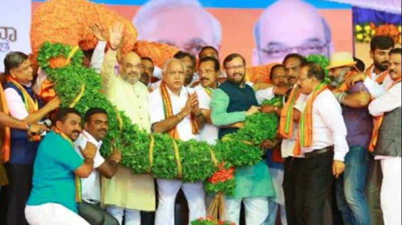 Amit Shah's rally as part of the 'Parivarthana Yatra' by the state BJP came amid the bandh called by pro-Kannada outfits seeking PM Modi's intervention on the Mahadayi water sharing issue. (Photo: Twitter/@AmitShah)
