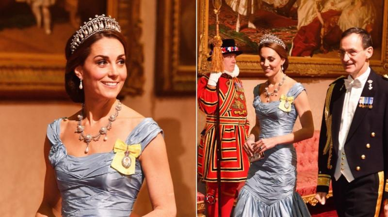 The Duchess of Cambridge channelled old school Hollywood glamour in a flattering blue gown by her favourite designer Alexander McQueen. (Photo: Twitter Screengrab/ @KensingtonRoyal )