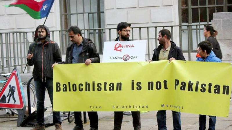 Free Baloch Movement activists protest against China and Pakistan outside the Chinese Embassy in London in October. (Photo: PTI)