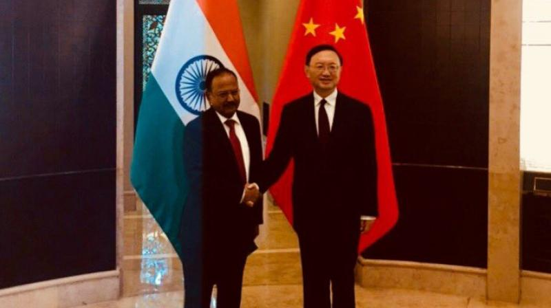 National Security Advisor Ajit Doval on Friday held talks with top official of China's ruling CPC Yang Jiechi in Shanghai, the Indian Embassy in Beijing said. (Photo: Twitter/@EOIBeijing)