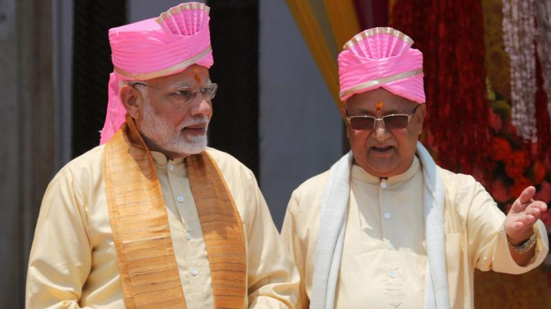 PM Modi arrived in Kathmandu on Friday on a two-day visit and held discussions with his Nepalese counterpart KP Oli on strengthening ties between the two neighbouring countries. (Photo: PTI)