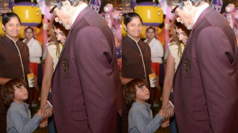 Amitabh Bachchan and Shweta Bachchan Nanda with AbRam Khan.