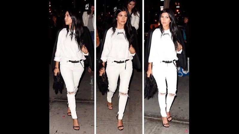 Kourtney Kardashian effortlessly sporting a pair of ripped white denims to perfection. (Photo: Instagram/kourtneykardash)
