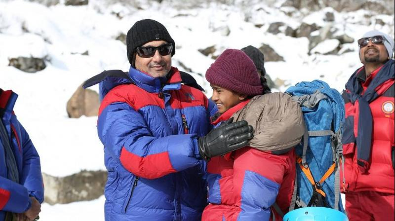 Rahul Bose on the sets of 'Poorna.'