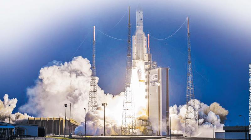 Ariane-5 rocket lifts off with GSAT-31 and other satellites from Kourou in French Guiana on Wednesday.